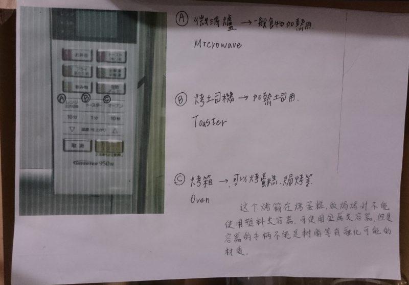 電子レンジの使い方。英語や中国語でも説明されていました。